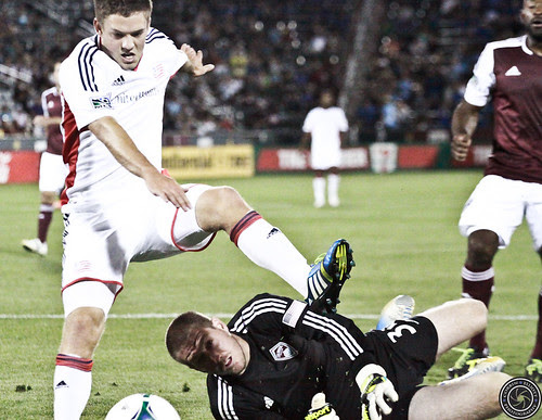 Clint Irwin (GK Rapids), Kelyn Rowe (Revolution), New England Revolution vs. Colorado Rapids July 17th 2013 by Corbin Elliott Photography, Photographer Denver