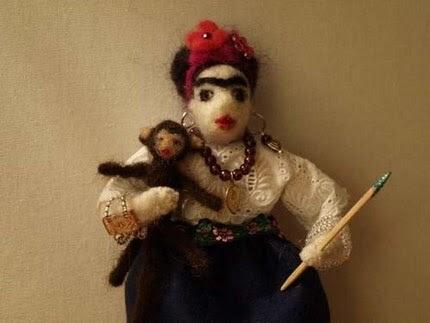 Felted Frida Kahlo doll