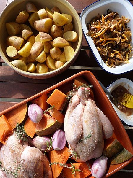 poulet, chanterelles et pommes de terre