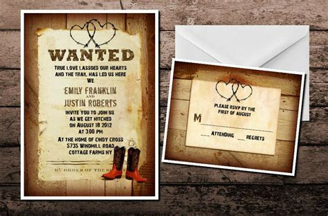 Western Country Cowboy Cowgirl Wedding Invitations