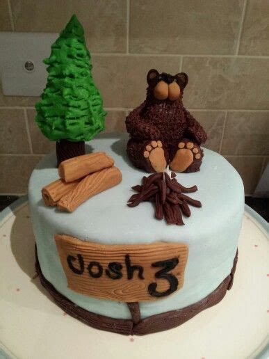 Non professional take on a bear hunt cake : )   Camping