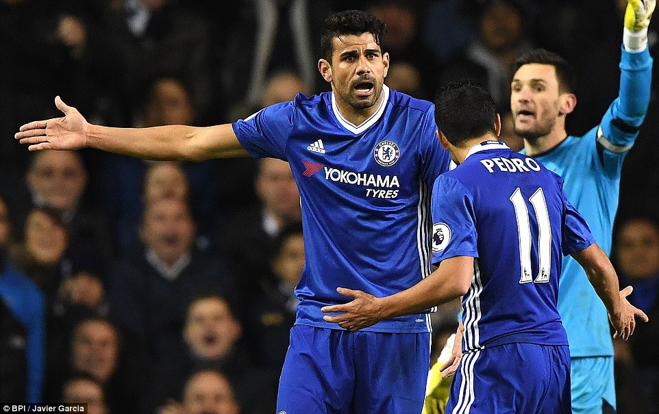 Costa and  Spain team-mate Pedro have a very public slanging match after the visitors wasted a goalscoring opportunity