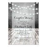 String of Lights Rustic Wood Background 5x7 Paper Invitation Card