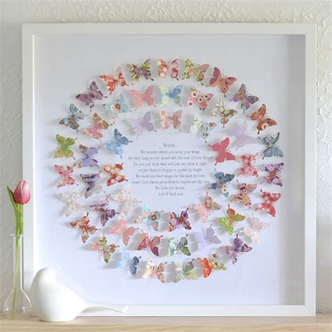 Whimsical Circle Butterfly Art Framed Beautiful Present