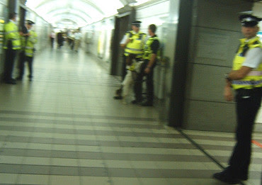 Police at Bank Station with sniffer dog