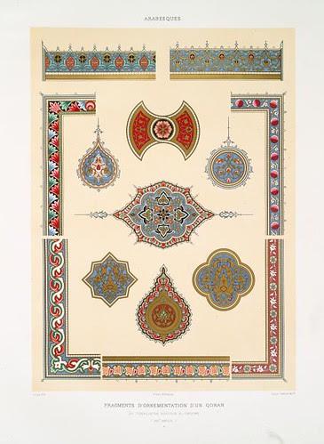 Arabesques - fragments d'ornementation d'un Qoran du tombeau de soultan el-Ghoury (XVIe. siècle)
