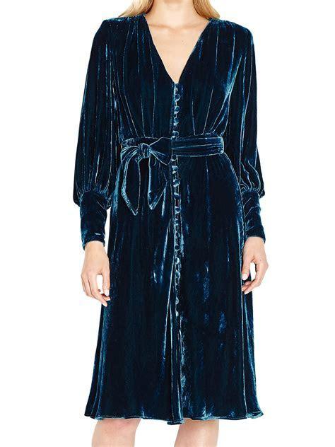 Ghost Riley Velvet Dress, Deep Teal at John Lewis & Partners