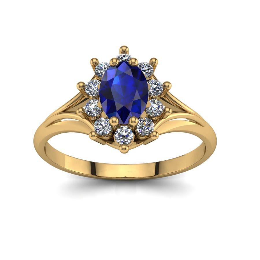 Złoty Pierścionek Zaręczynowy Z Szafirem I Brylantami 03ct Pz 120