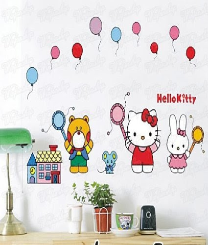 kinderzimmer wandtattoo wandaufkleber wandtattoo wandsticker hello kitty kinder kinderzimmer. Black Bedroom Furniture Sets. Home Design Ideas