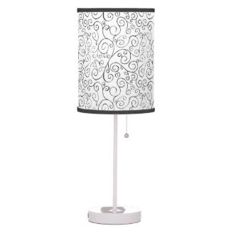 Hand-Painted Black Curvy Pattern on White Table Lamp