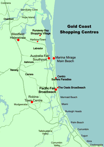 gold coast queensland map. Map Of The Gold Coast showing