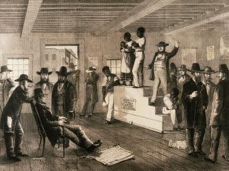 slave auction, virginia, 1861, black history, slave trade