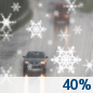 Monday: A chance of rain and snow showers before 4pm, then a chance of rain showers.  Mostly cloudy, with a high near 46. Chance of precipitation is 40%. Little or no snow accumulation expected.