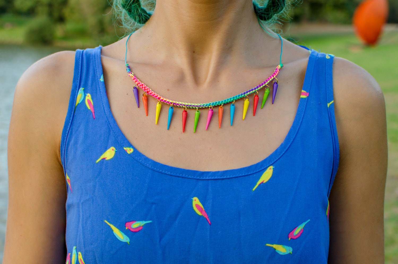 Multi Color Spikes on Multi Color Cord Necklace - Artanabra