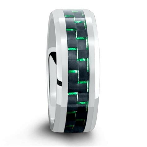 8mm Mens Silver Tungsten Wedding Band With Green & Black