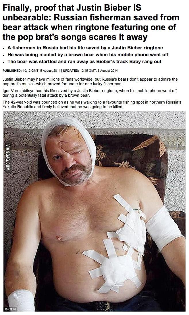 Ruso atacado por un oso Justin Bieber