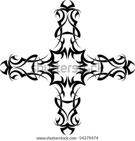 stock vector : christian Cross Tattoo