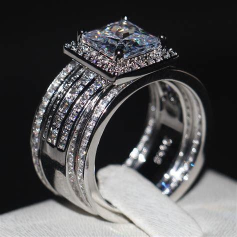 Luxury Men women Fashion ring Princess cut 3ct AAAAA