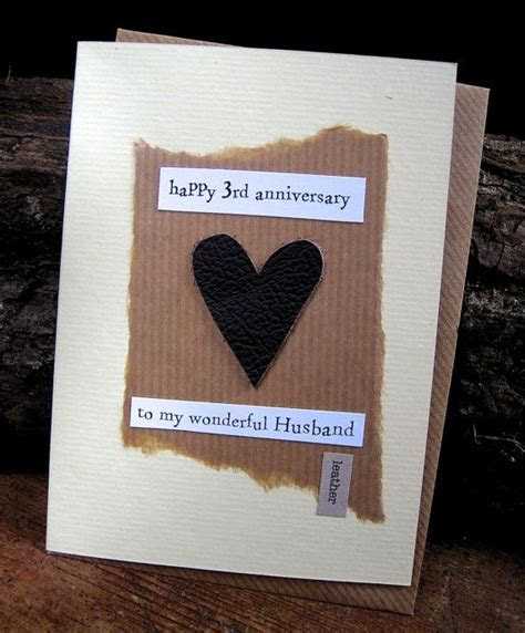 3rd Wedding Anniversary Card LEATHER Husband Traditional