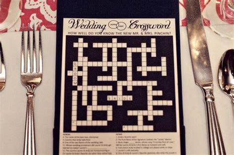 Personalized Wedding Crossword Puzzle. Use as a Reception