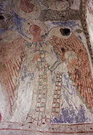 Fresco in tomb of Tigran Honents in Ani. Click for more on caves below the city. (VirtualANI)