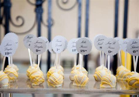 cake pop wedding escort cards