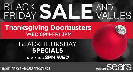 Sears Thanksgiving Doorbusters start NOW!