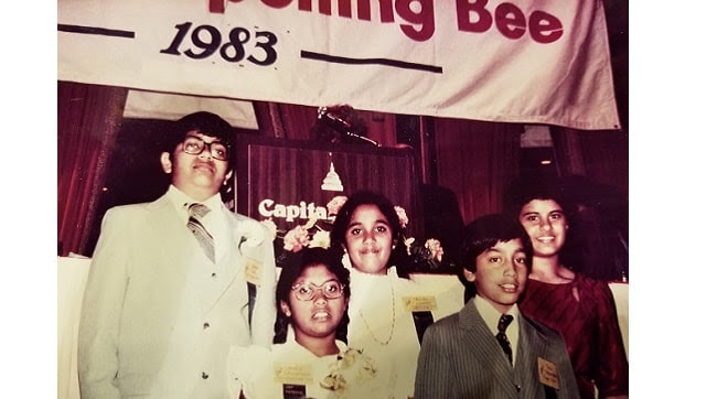 Balu Natarajan, second from the right, at the 1983 Scripps National Spelling Bee alongside most of the Indian American contestants that year. In 1985, Natarajan became the first child of immigrants to win Scripps, prompting an outpouring of support from people of South Asian descent. (via Balu Natarajan via The New York Times)