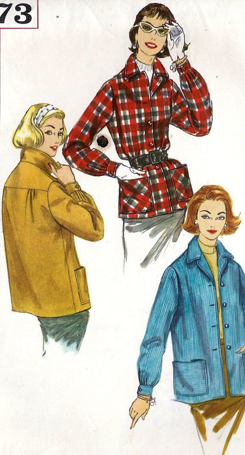 """1950s Misses Jacket The suburbanite Vintage Sewing Pattern, Simplicity 2273 bust 38"""""""