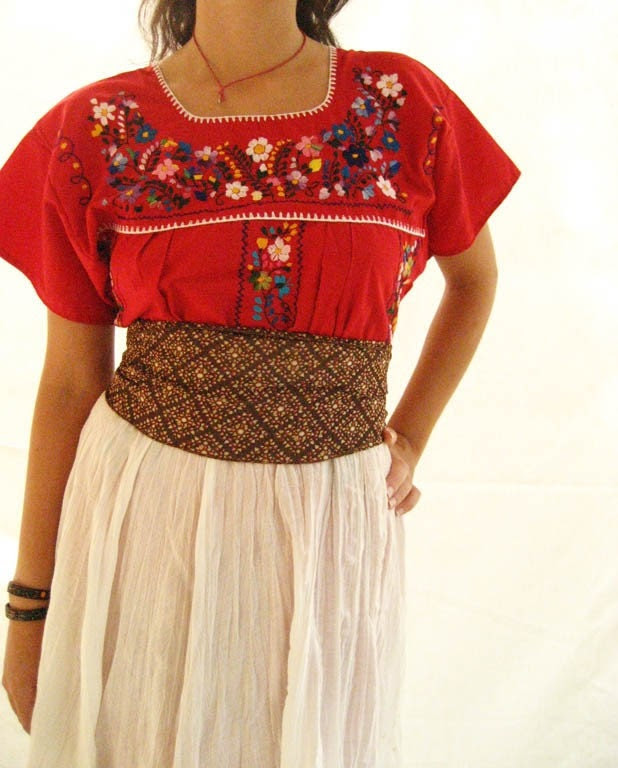 Unique Embroidered Mexican Tunic dress cherry red new size M L vintage style