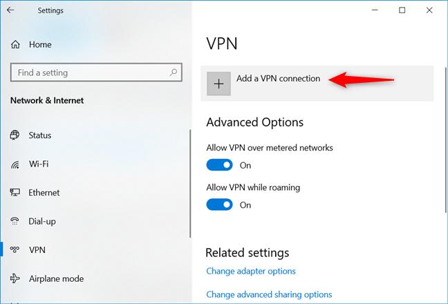 Elegir agregar una conexión VPN