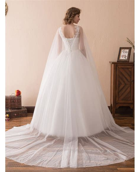 Simple Tulle Lace Ballroom Wedding Gowns With Cape Train #