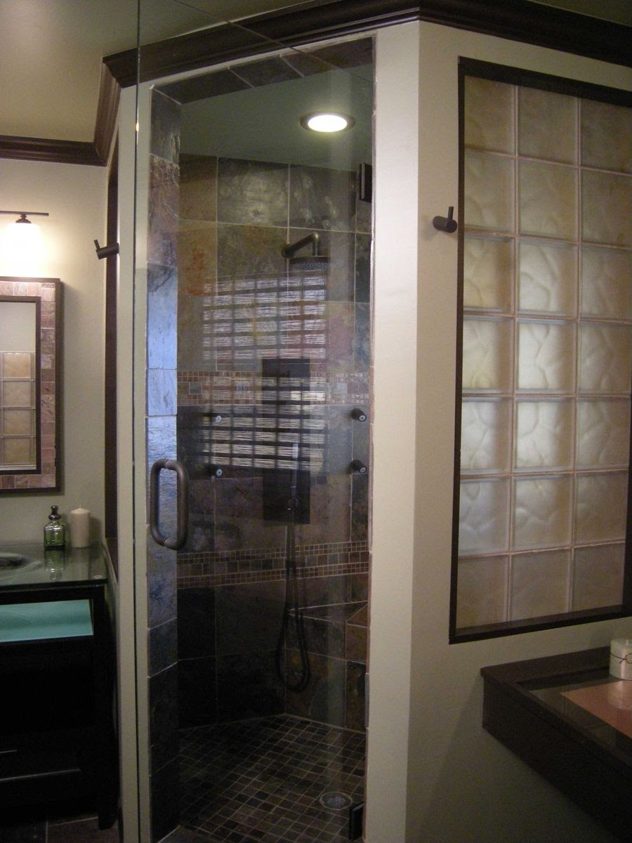 Custom Cinnamon Colored Frosted Glass Block Shower Wall ...