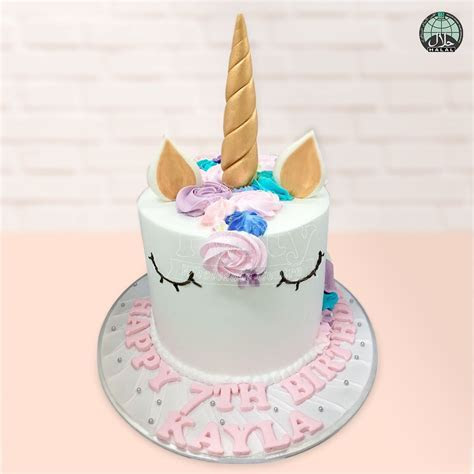 Customised Magical Unicorn Dark Blue Birthday Cake (Halal