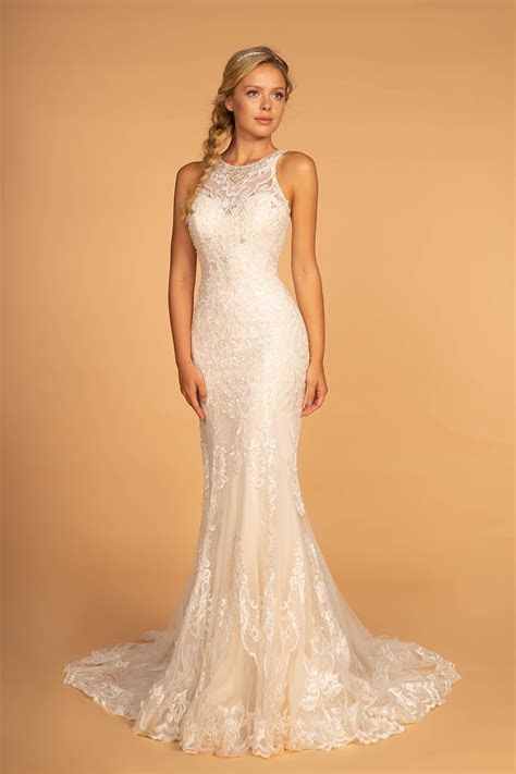 Elizabeth K GL2597 High Neck Wedding Dress   Ivory