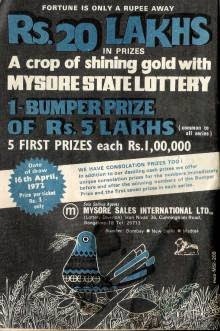 Old ad for Mysore state Lottery Published in Indian edition of the Reader's Digest
