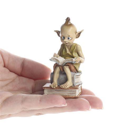 Miniature Reading Garden Pixie Figurine   Fairy Garden