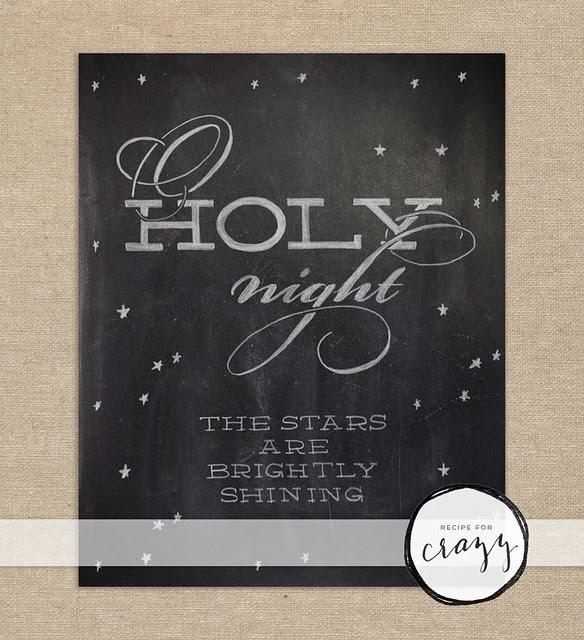 o holy night the stars are brightly shining - chalk art print