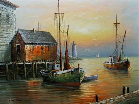 oil paintings  fishing boats details  fishing