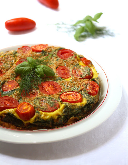 Tomato and Potato Omelet with Aromatic Herbs