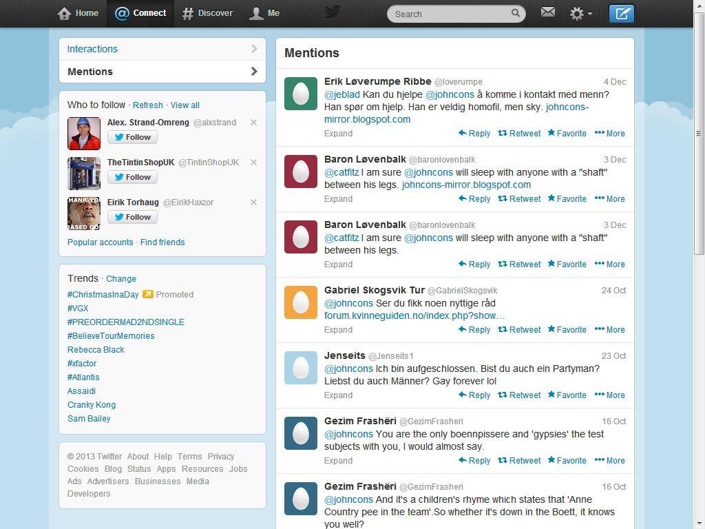 mer nettmobbing twitter lørdag