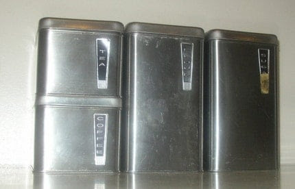 1950s stainless kitchen canister set retro atomic