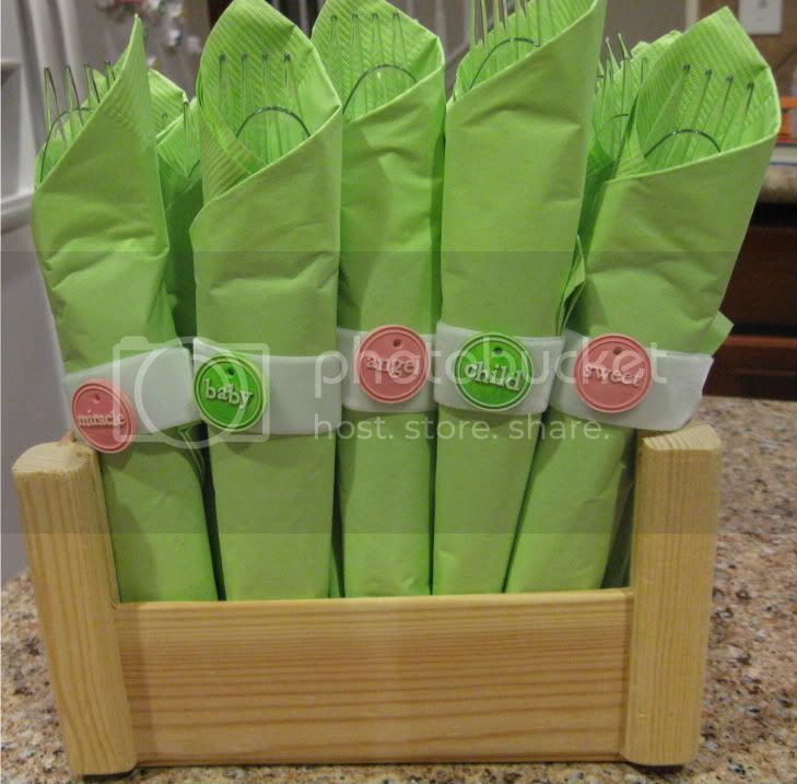 Baby shower napkin rings cutlery
