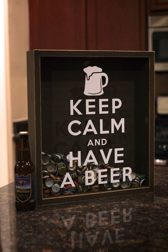 Beer Bottle Cap Holder Shadow Box  Keep Calm by ChrisONeillDesigns, $85.00