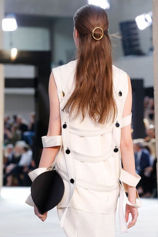 Le Fashion Blog 15 Ways To Wear Round Circle Hair Clip Pin Accessory Hairstyle Half Up Loose Waves White Strap Dress Celine SS15 Via Vogue UK