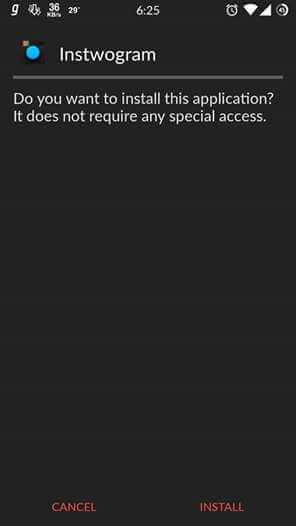 instwogram apk install