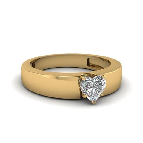 Flat Solitaire Heart Shaped Engagement Ring In 14K Yellow