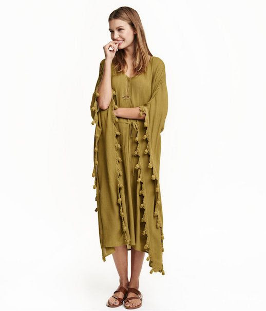 Le Fashion Blog Under 100 Olive Colored Kaftan Dress With Tassle Details Via H&M