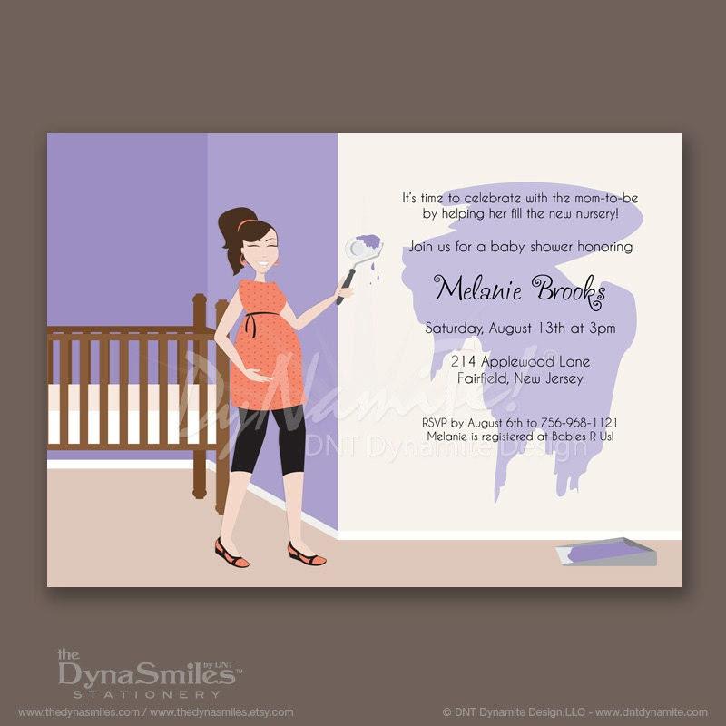 Mom Painting Nursery - Baby Shower Invitation - Ponytail Hair
