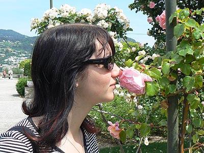 mélo renifle les roses.jpg